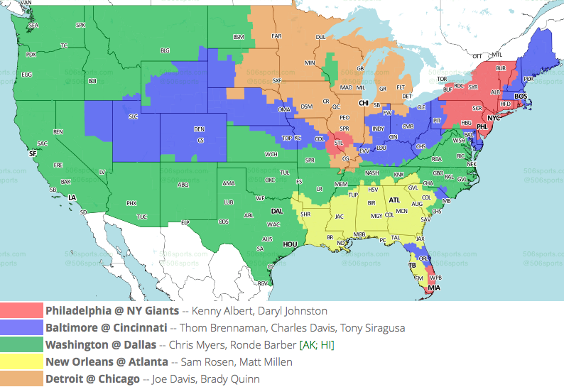 NFL TV Maps for Week 17 Tv Map on us mail map, french spoken map, wifi service map, p.a map, rich people map, d'hara map, x files map, 9gag map, stage map, living room map, xbox live map, mobile coverage map, gps unit map, ntsc map, dc nightlife map, pmp map, sat map, ai map, region code map,