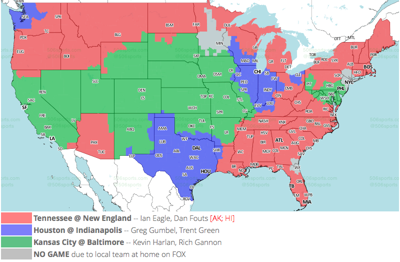 NFL TV Maps for Week 15