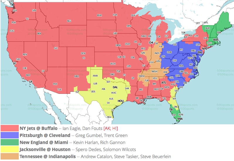 NFL TV Maps for Week 17