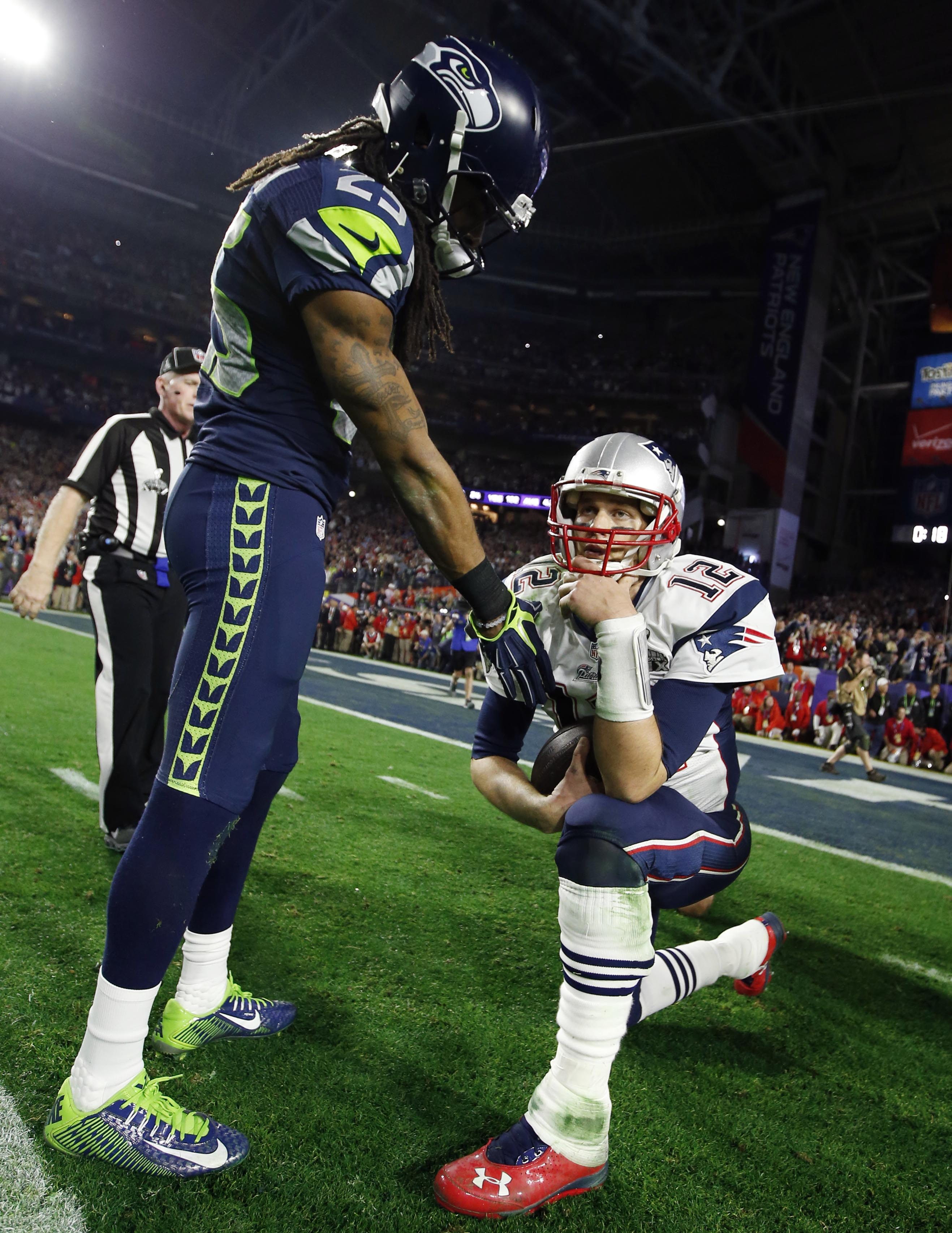 2017 is the seahawks make or break year feb 1 2015 glendale az usa seattle seahawks cornerback richard sherman left shakes hands with new england patriots quarterback tom brady 12 after voltagebd Gallery